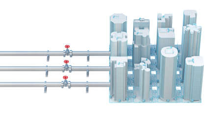 concept of connecting pipes with valves to the city. 3d rendering