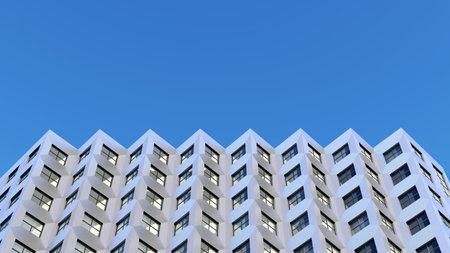 zigzag top of the building. 3d rendering