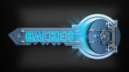 open safe key concept with text hacked. 3d rendering 免版税图像