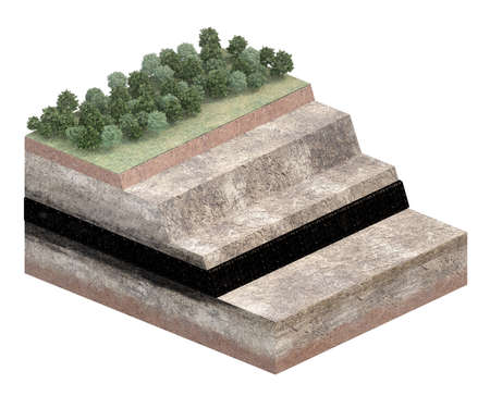 part of ground cut of coal layer isolated on white. 3d rendering 免版税图像