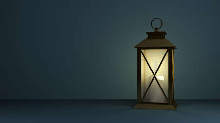 old lamp with a candle inside and copy space. 3d rendering