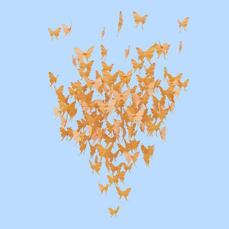 many figures of orange butterflies on blue background. 3d rendering