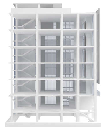 modern section six story building isolated on white. 3d rendering