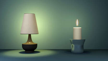 classic simple floor lamp and candle. 3d rendering