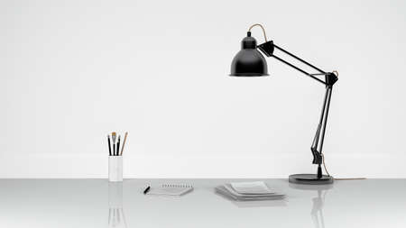 composition with black table lamp documents notepad. 3d rendering