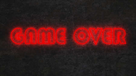 red neon text game over on black concrete wall. 3d rendering 免版税图像