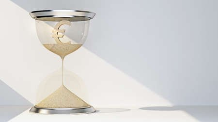 Euro currency symbol concept flowing away in hourglass. 3d rendering