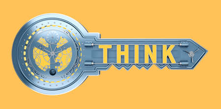 concept key mechanism with text think. 3d rendering