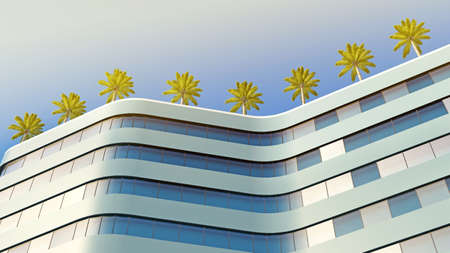 bottom view of the curve building with palm trees on the roof. 3d rendering