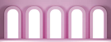pink wall with five arched niches. 3d rendering