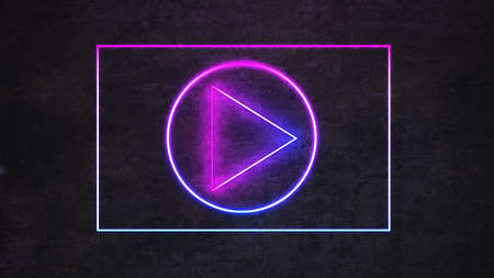 neon video player icon on black concrete wall. 3d rendering