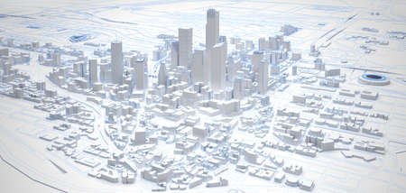white low poly modern downtown above view. 3d rendering