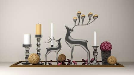 composition decorative deer candles. 3d rendering