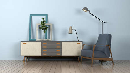 armchair with lamp and chest of drawers. 3d rendering