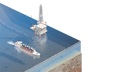 offshore mining industry above view. 3d rendering 免版税图像
