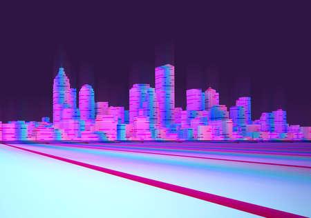 night neon cyberpunk cityscape. 3d rendering