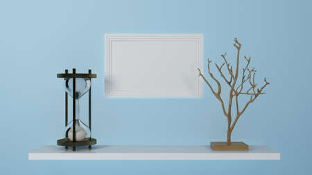 shelf with hourglass and picture frame. 3d rendering 免版税图像