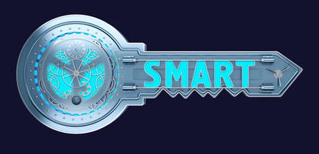 concept key with mechanism with text smart. 3d rendering