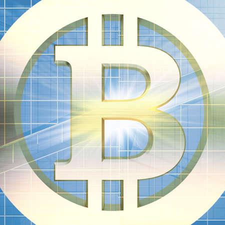 golden bitcoin sign tinted glass building facade. 3d rendering