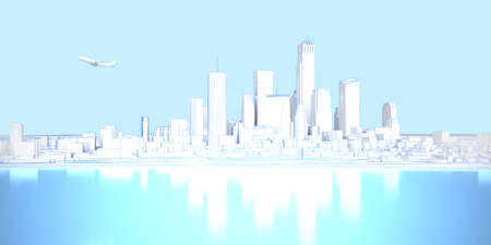 low poly white plain cityscape with shore and airplane. 3d rendering