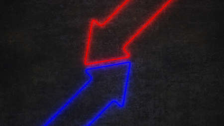 neon counter red and blue arrows on black concrete wall. 3d rendering