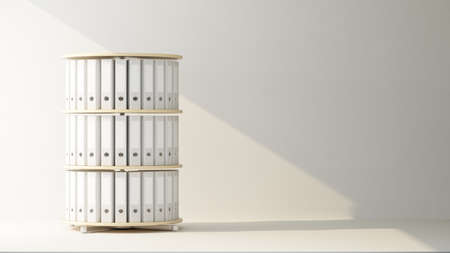 rack cylinder with office files. 3d rendering