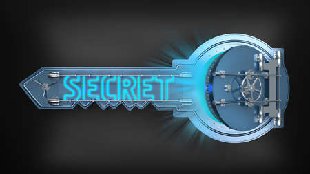 open safe key concept with text secret. 3d rendering Archivio Fotografico