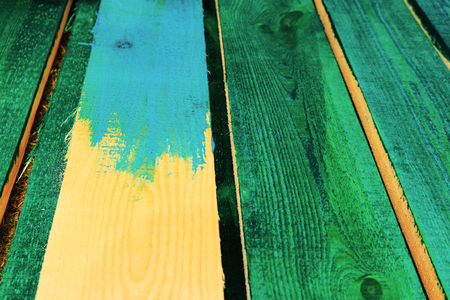 Impregnation and painting of wooden boards. Stock Photo