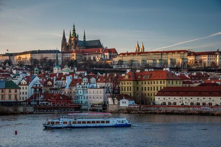 view of Prague Castle over Vltava river, Czech Republic