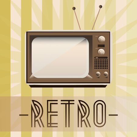 old fashioned: Retro TV with old fashioned background Illustration
