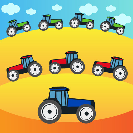 Tractors on the field - harvest time Vector