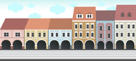 classicism: Historical buildings on the square Illustration