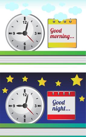good night: Buenos d�as, buenas noches - Hay dos tipos de ilustraci�n vectorial Vectores