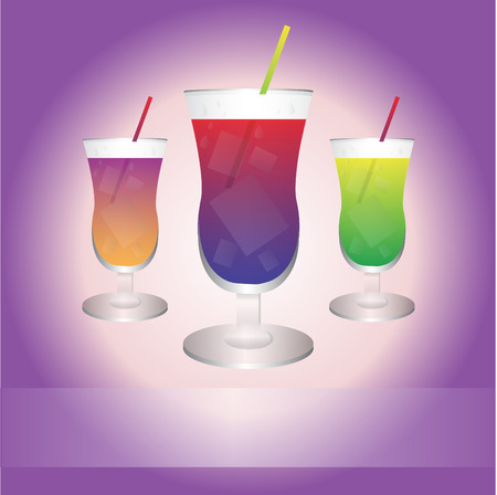 blue lagoon: Three best drinks with purple background Illustration