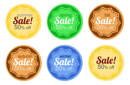 according: Sale stickers according to the annual seasons