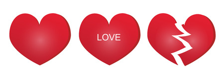 Three types of red heart Vector