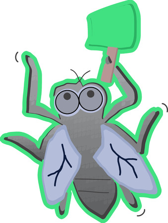 Cartoon fly with swatter Illustration