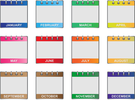 yearly: Calendar icons set