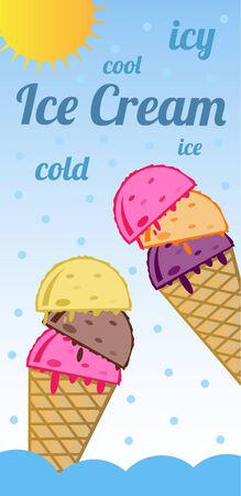 pokey: Ice cream - icy refreshing   Illustration