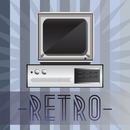 Retro computer with old fashioned background 일러스트