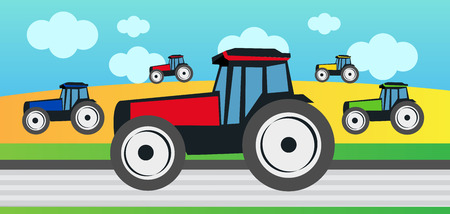 reaping: Harvest and many tractors Illustration