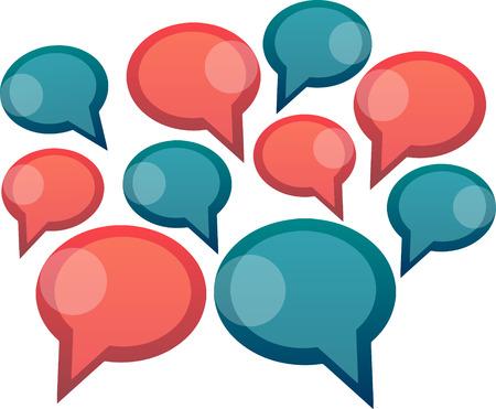 dos personas conversando: Grupo de palabra rojo y azul burbujas Vectores