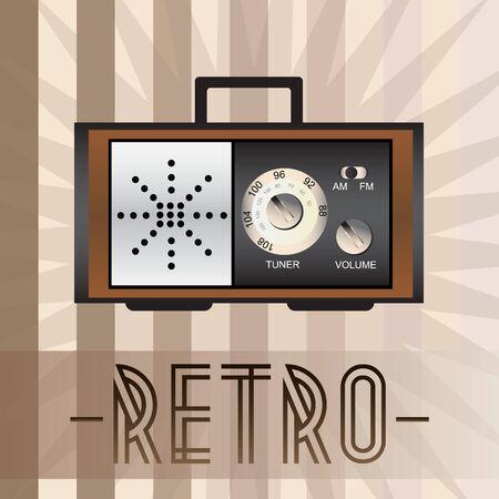 old fashioned: Retro radio with old fashioned background Illustration