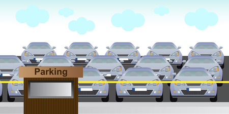 guarded: Full parking  lot Illustration