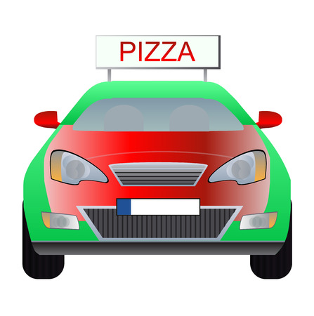 illustration of pizza delivery car  Vector
