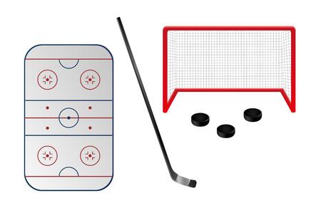 Set of ice hockey elements Vectores