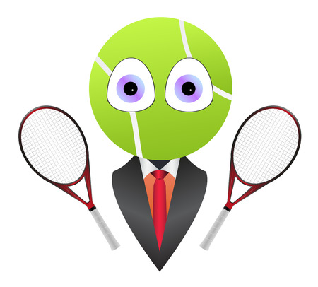 clay mask: Cartoon business tennis mascot Illustration