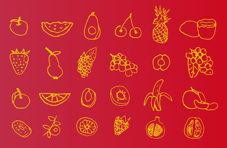 summerly: Set of hand-drawn icons of fruit Illustration