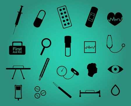 electrocardiograph: Set of twenty medical and health care simple icons Illustration
