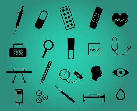 pastil: Set of twenty medical and health care simple icons Illustration